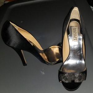 Badgley Mischka Black Satin Jewels Heels Sz 7 1/2M